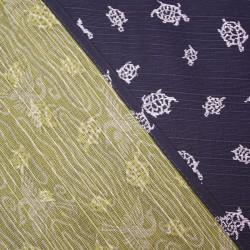 Réversible Tortue et grue sur fond noir et vert  - 105 cm