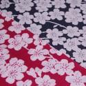 Réversible Fleurs de cerisier bleu marine et rouge - 105 cm