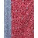 Réversible Chrysanthèmes rouge et bleu - 105 cm