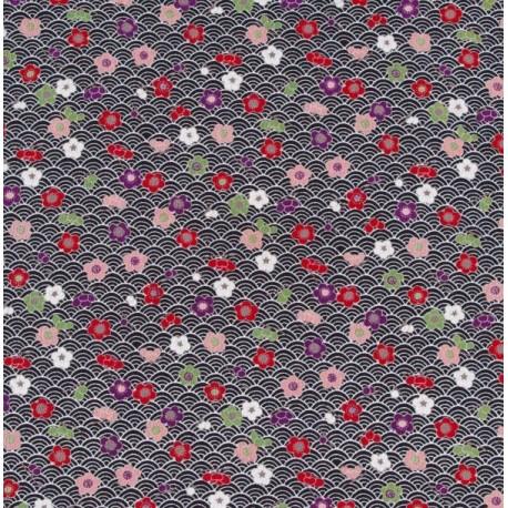 Fleurs de pruniers Ume sur vagues - 50 cm