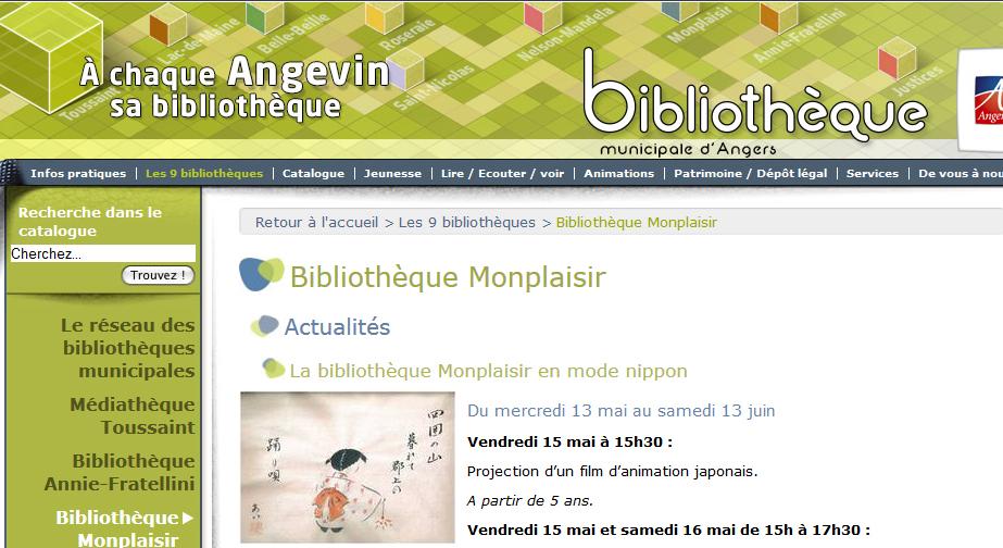 Site de la Bibliothèque municipale Monplaisir d'Angers
