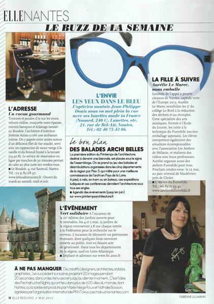 """Article """"La fille à suivre"""" Magazine Elle Nantes et sa région du 3 mai 2013"""