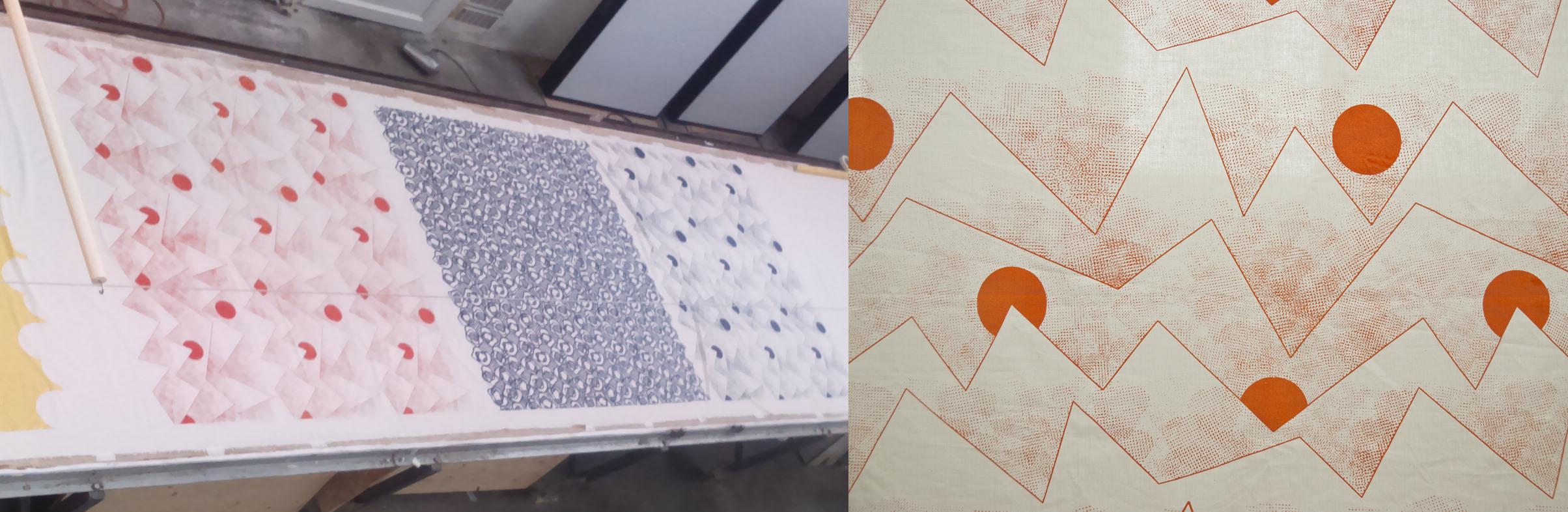 Test d'impression furoshiki et détail du motif Oblique